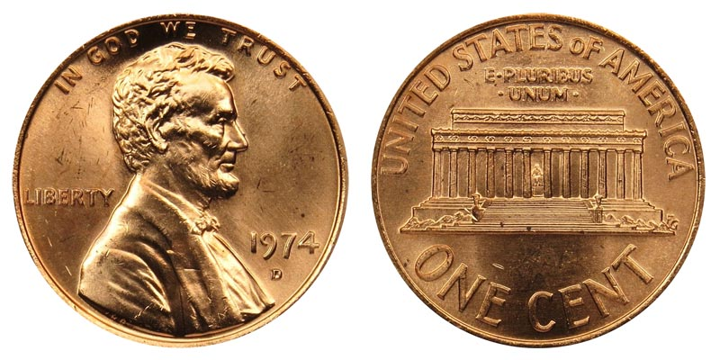 1974 D Lincoln Memorial Cent Copper Alloy Penny Value And