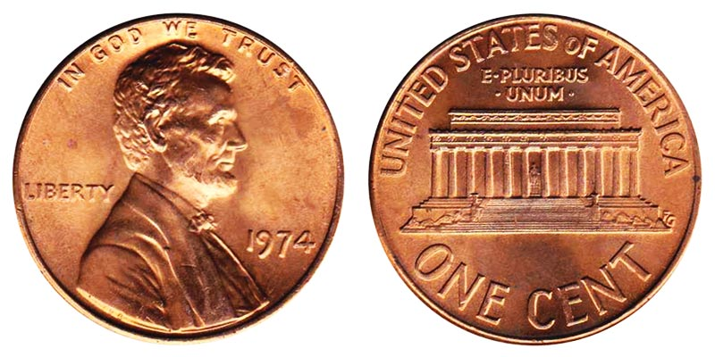 Penny in MINT CELLO uncirculated BU RED 1975 D Lincoln Memorial Cent