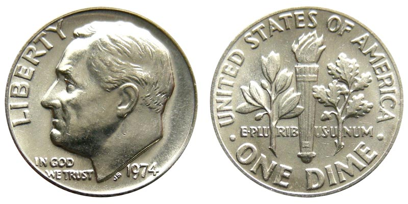 1974-D ROOSEVELT DIME FROM MINT SET NOT ROLL  I-15-18