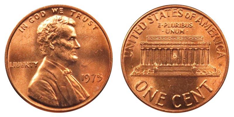 Lincoln Memorial Cent 1975 P