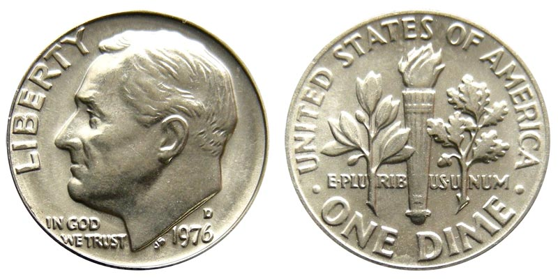 #9523 1976 P Roosevelt Dime UNC Coin Finish Your Coin Book
