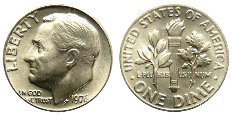 1976 Roosevelt Dimes Clad Composition Value And Prices