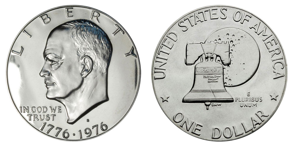 1976 S Eisenhower Dollar PROOF Clad Ike 1976 S Type 2 US Mint Coin MADE IN USA