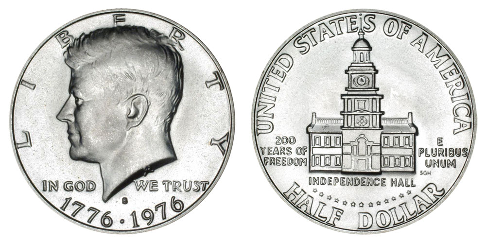 1976 S Kennedy Half Dollars 40 Silver Bicentennial Design