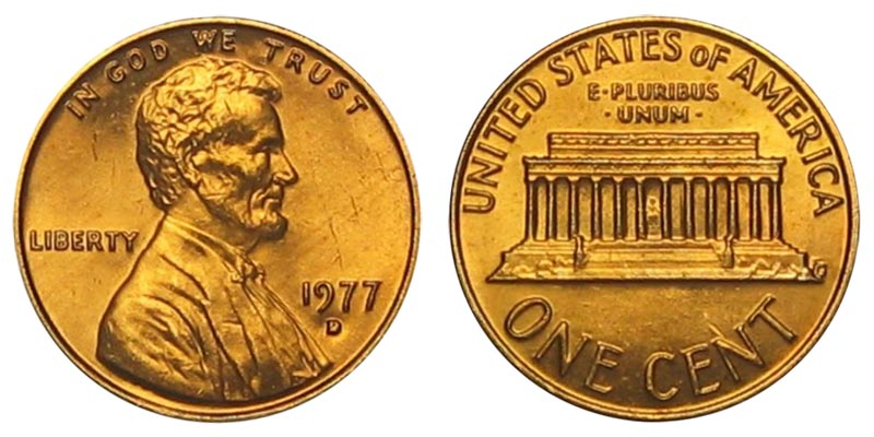 1971 D Lincoln Memorial Penny ~ Uncirculated Cent from Bank Roll