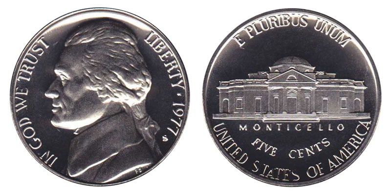 1978 S Jefferson Nickel 5c Gem Proof Roll 40 US coins