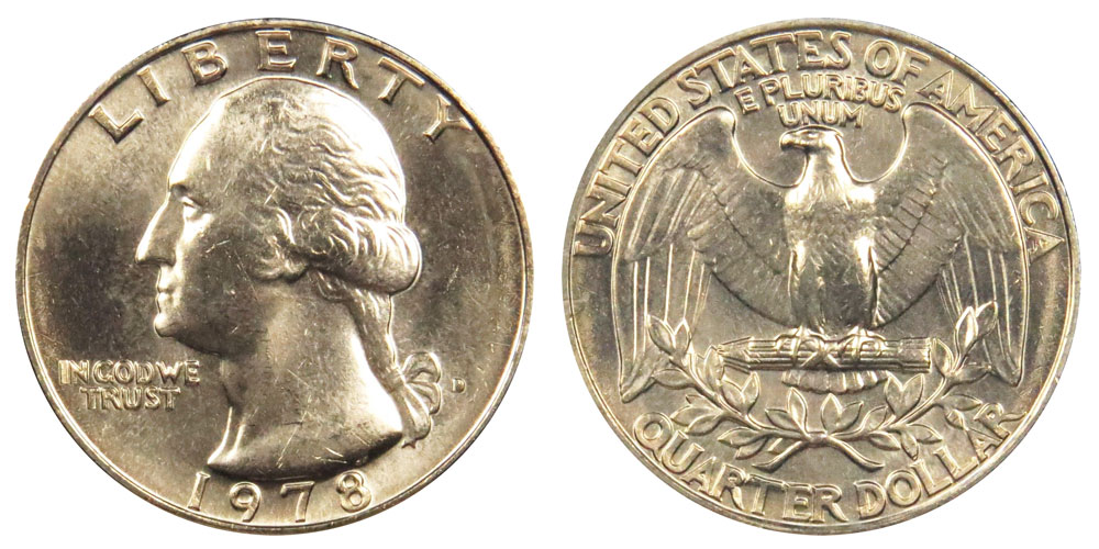1978 d washington quarters clad composition value and prices