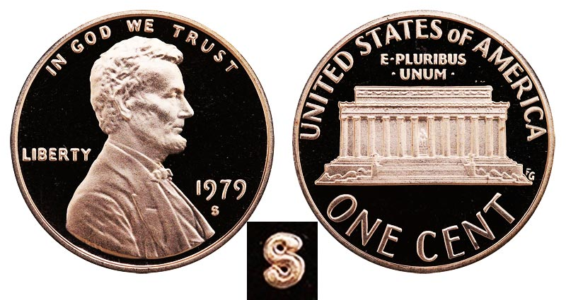 1979 S Lincoln Memorial Penny Type 2 - Clear S Coin Value Prices