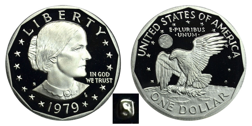 1979 S Susan B Anthony Dollars Type 1 Filled S Proof