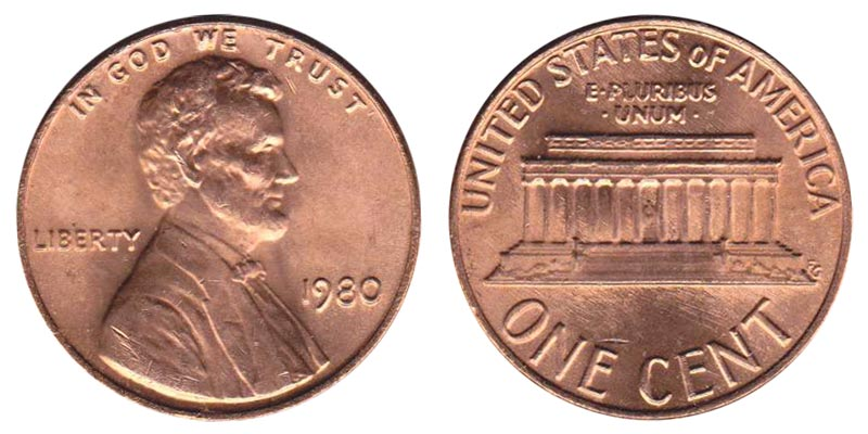 1980-P LINCOLN MEMORIAL CENT PENNY 50 COIN ROLL CIRCULATED COPPER