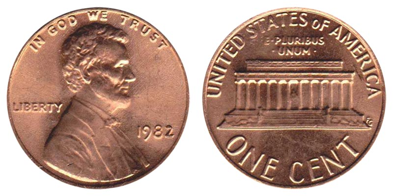 1982 Lincoln Memorial Penny Zinc - Large Date Coin Value Prices