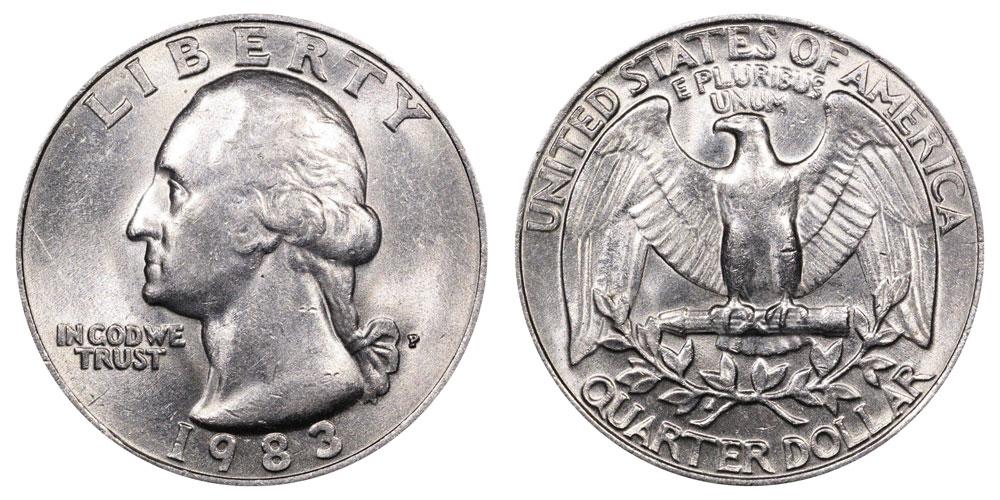 1983 P Washington Quarters Clad Composition Value And Prices