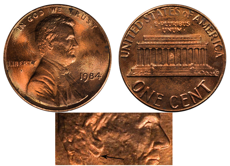1984 Lincoln Memorial Penny Doubled Die Ear Coin Value