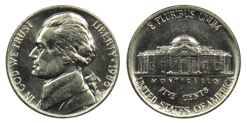 1986 D Jefferson Nickel  ~ Uncirculated Coin in the Original Mint Cello