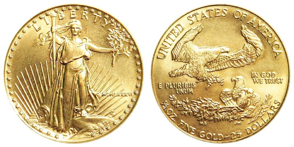 1986 P American Gold Eagle Bullion Coins MCMLXXXVI 25 Half Ounce