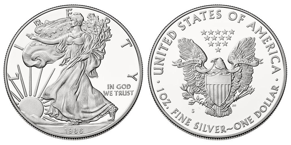 1986 S American Silver Eagle Bullion Coins Proof One Troy