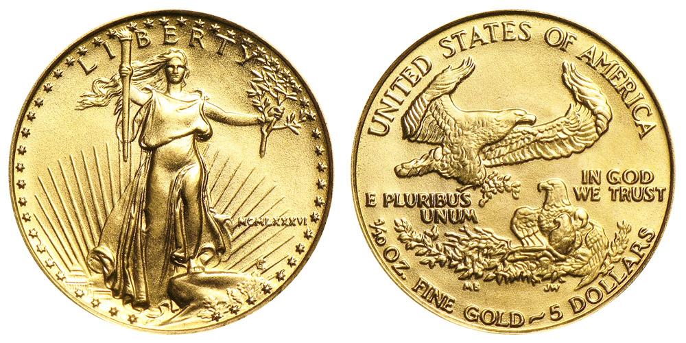 1986 P American Gold Eagle Bullion Coins Mcmlxxxvi 5