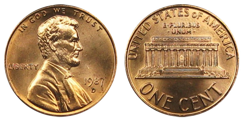 1987 D Lincoln Memorial Cent Copper Plated Zinc Penny Value And Prices