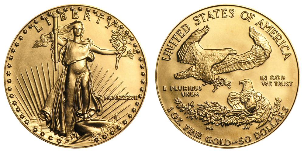 1987 P American Gold Eagle Bullion Coins Mcmlxxxvii 50