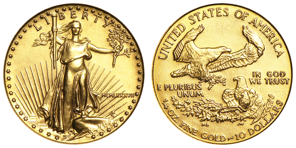 1987 P American Gold Eagle Bullion Coins Mcmlxxxvii 10