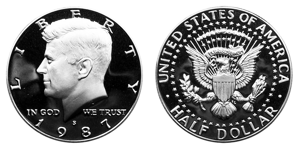 FREE SHIPPING 1987 S KENNEDY HALF DOLLAR FROM PROOF SET