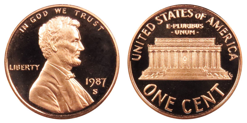 1987 S Lincoln Memorial Cent Small Cents Copper Plated Zinc