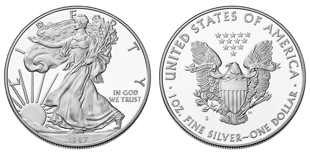 1987 S American Silver Eagle Bullion Coin Proof One Troy