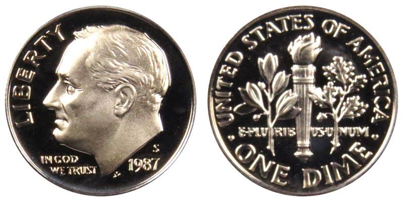 1987-S PCGS PR70DCAM Roosevelt  Dime