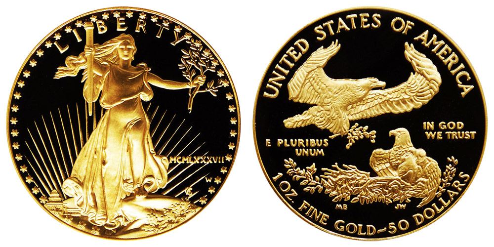 1987 W Proof One Ounce American Gold Eagle 1 Oz 50 Mcmlxvii