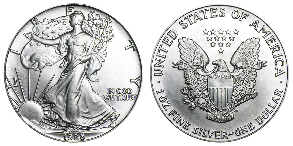 1988 American Silver Eagle Bullion Coin One Troy Ounce