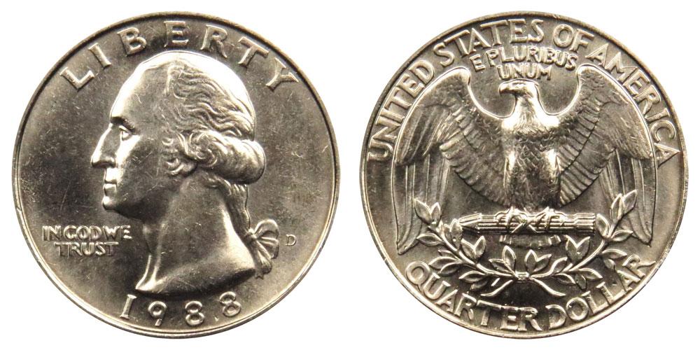 1988 D Washington Quarter Roll 40 coins