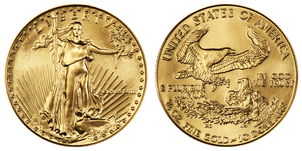 1988 P American Gold Eagle Bullion Coins Mcmlxxxviii 10 Quarter Ounce Gold Value And Prices