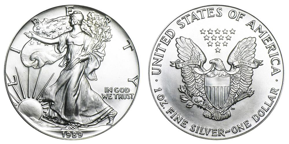 1989 American Silver Eagle Bullion Coin One Troy Ounce