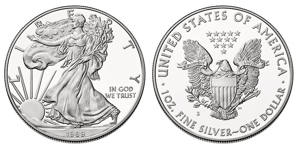1989 S American Silver Eagle Bullion Coin Proof One Troy