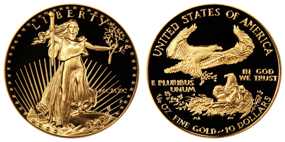 1990 P American Gold Eagle Bullion Coins Mcmxc Proof 10