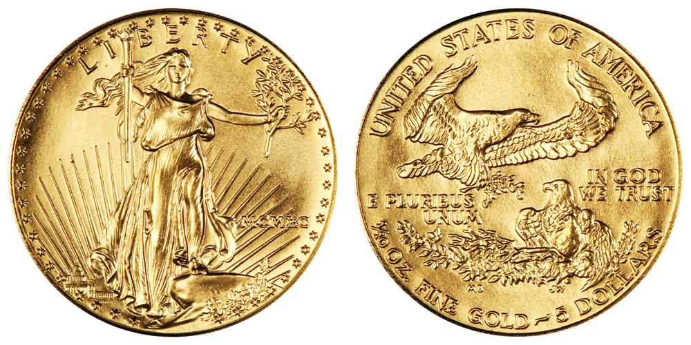 1990 P American Gold Eagle Bullion Coins Mcmxc 5 Tenth