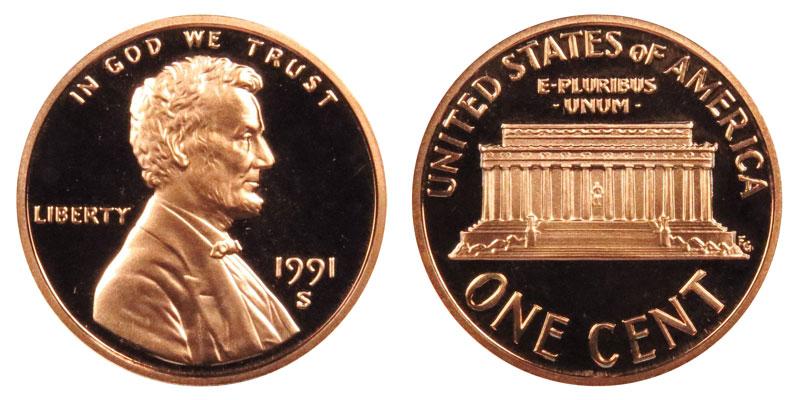 1991 S Lincoln Memorial Penny Coin Value Prices, Photos & Info