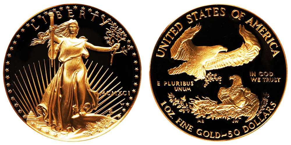 1991 W American Gold Eagle Bullion Coins Mcmxci Proof