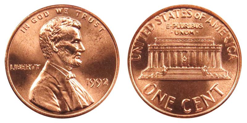 1992 Lincoln Memorial Penny Coin Value Prices, Photos & Info