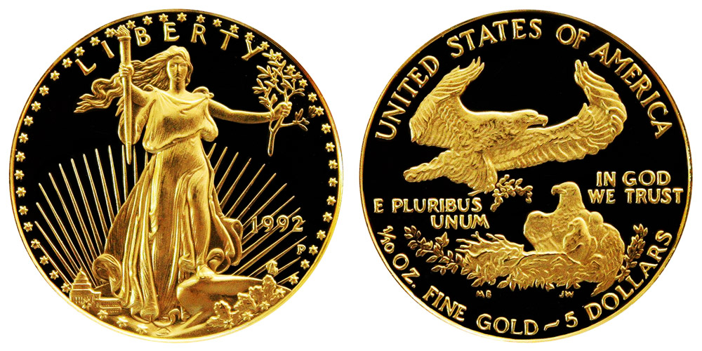 1992 American Gold Eagle Bullion Coin Proof 5 Tenth Ounce Gold Coin Value Prices Photos Amp Info