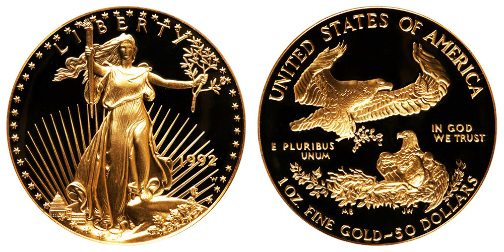 1992 W American Gold Eagle Bullion Coin Proof 50 One Ounce Gold Coin Value Prices Photos Amp Info