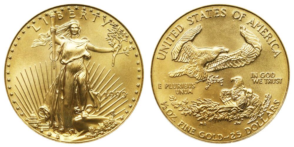 1993 P American Gold Eagle Bullion Coins 25 Half Ounce
