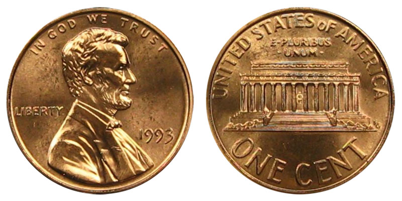 1993 Lincoln Memorial Penny Coin Value Prices, Photos & Info