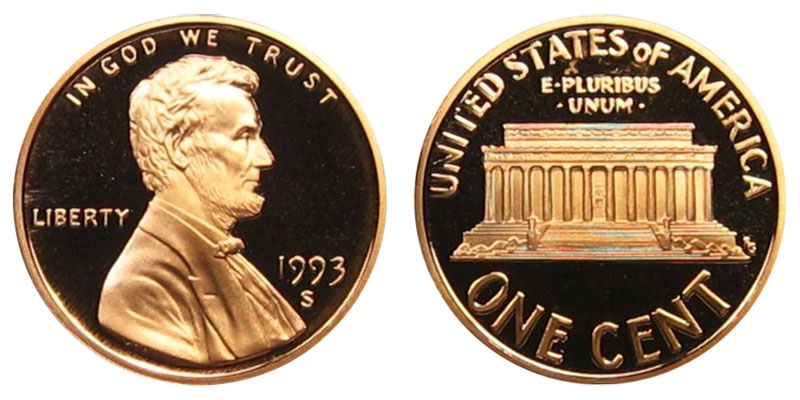 1993 S Lincoln Memorial Penny Coin Value Prices, Photos & Info