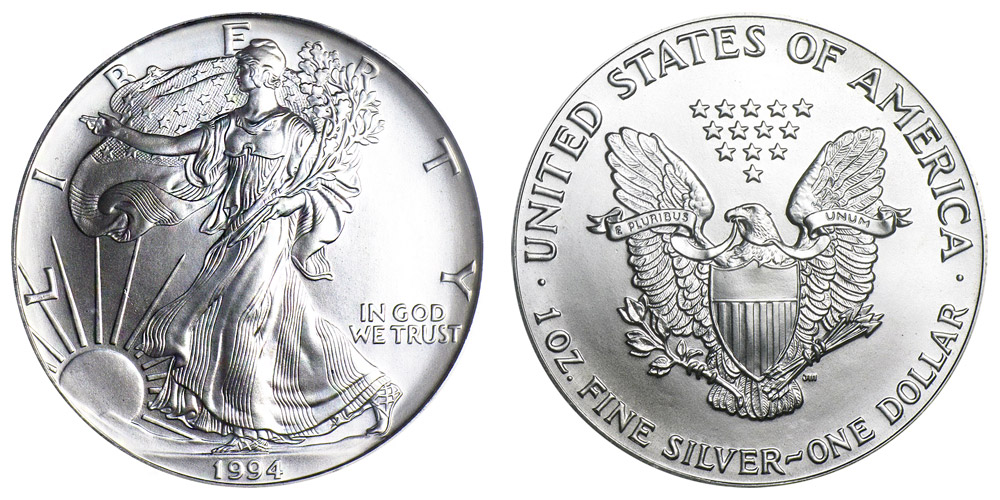 1994 American Silver Eagle Bullion Coin One Troy Ounce