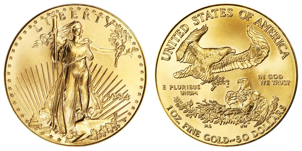 1994 P American Gold Eagle Bullion Coins 50 One Ounce