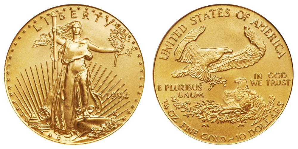 1994 P American Gold Eagle Bullion Coins 10 Quarter Ounce
