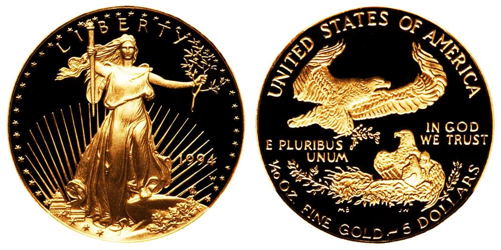 BU 1994 American Gold Eagle 1//10 oz $5