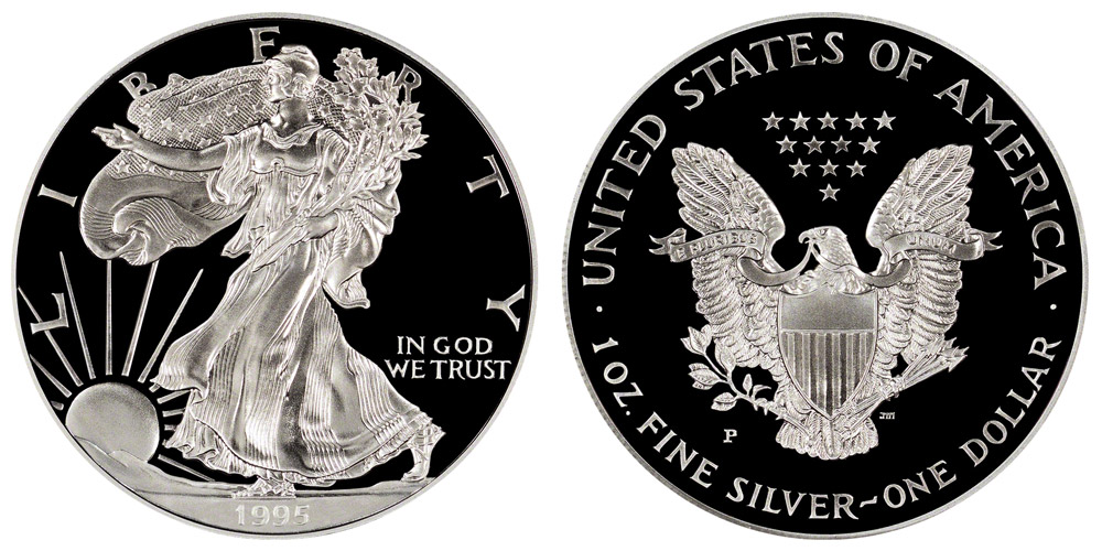 1995 P American Silver Eagle Bullion Coins Proof One Troy