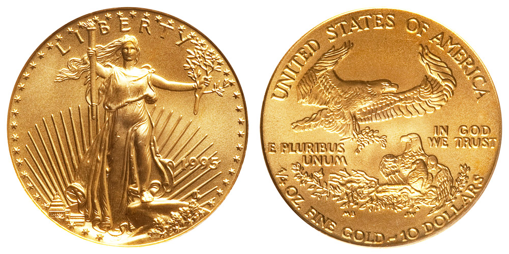 1995 American Gold Eagle Bullion Coin 10 Quarter Ounce Gold Coin Value Prices Photos Amp Info